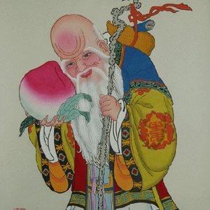 收藏品精品杨柳青木版宣纸手绘年画婚庆礼品年货 老寿星 年画