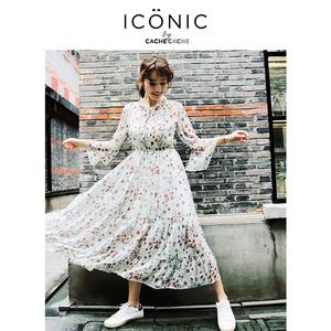 CacheCache2018春夏新款 Iconic by 温柔风雪纺碎花连衣裙女