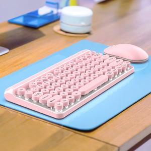 無線鍵盤鼠標套裝可愛粉色女生少女心靜音辦公室打字專用筆記本台式電腦外接無限usb迷你便攜小巧機械感鍵鼠