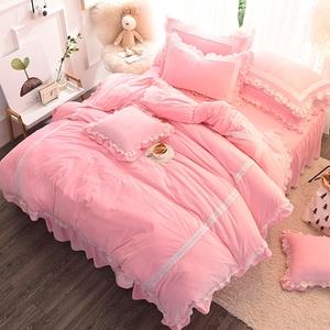 风情甜美浪漫床上四件套公主风冬季田园风少女卧室用品被罩珊瑚绒