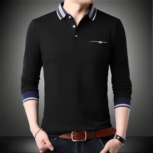 特大碼長袖男POLO衫寬松版青年人秋天上班外套不起球T恤純棉帶領