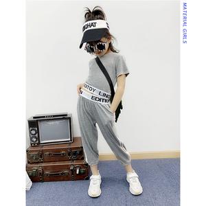 女童套装2019夏季新款韩版儿童短款T恤织带字母印花休闲裤两件套