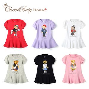 嬰兒短裙歐美外貿夏裝女寶寶純棉短袖滿月百日連衣裙兒童公主洋氣