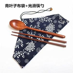 包邮日式木制实木勺子筷子套装布袋便携学生旅行餐具环保礼品筷