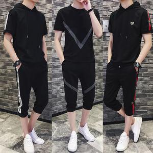 夏季男士全棉时尚运动宽松中裤套装韩版修身大码小脚七分短裤马裤