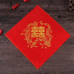 紅色手絹小方巾結婚喜帕婚慶用品純棉絲綢布手帕新娘婚禮新人手巾