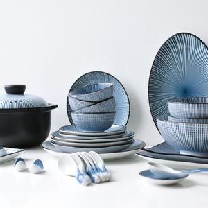 川?#20309;?釉下彩复古日式56头家用陶瓷碗盘盘子碗碗碟餐具砂锅套装