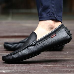 豆豆鞋男士夏季真皮休閑皮鞋懶人鞋韓版潮流一腳蹬套腳透氣駕車鞋