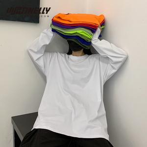 INS純棉20韓國ins復古基礎款純色秋季打底衫內搭男女長袖T恤bf風