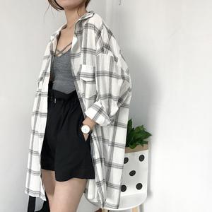 格子衬衫女夏季韩版宽松百搭学生bf长袖衬衣防晒上衣薄ins外套潮