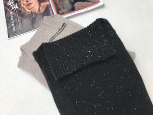 原单品牌宽松显瘦百搭高领圆摆插肩保真羊绒毛衣针织女装秋冬新款