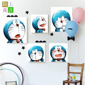 新款哆啦a梦diy手绘数字油画卡通动漫儿童情侣填色画机器猫表情包