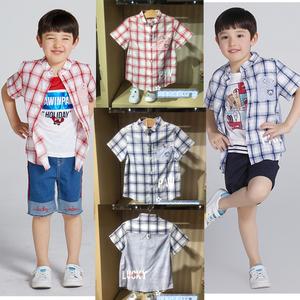 現貨2018夏款PAW男童童裝in小熊格子短袖襯衫PCYC82512M YC82512M