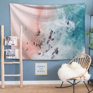 北欧INS清新少女海滩粉墙壁装饰挂毯桌布背景布床头卧室隔断挂布