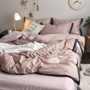 ins北歐風純棉四件套100全棉公主少女心床上用品三件被子套床單笠