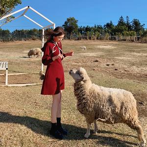 春裝2020款女新年紅色針織連衣裙秋冬小個子毛衣裙子赫本風小紅裙