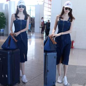 香港代购19夏季何穗明星同款吊带修身显瘦开叉一步裙背带牛仔裙子