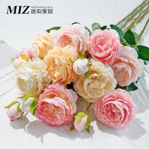 仿真?#26723;?#33457;假花家居客厅装饰干花餐桌摆件玫瑰花束婚庆花瓶插花