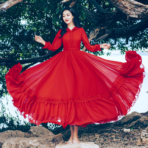 茶卡鹽湖2020春夏新款文藝復古紅裙雪紡連衣裙沙漠度假大擺長裙女
