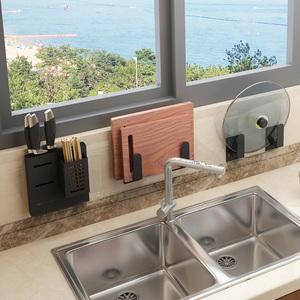 免打孔厨房置物架壁挂式锅盖收纳架坐式砧板菜板架墙上粘板案板架