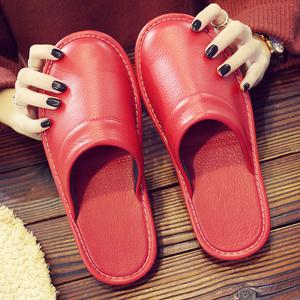 皮拖鞋居家秋冬季情侣男四季室内棉拖鞋女结婚拖鞋 喜庆红色一对