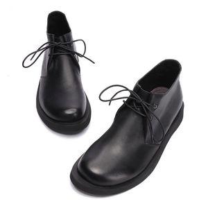 欧美头层牛皮男鞋圆头军鞋休闲商务正装高帮鞋大码男士手工真皮鞋