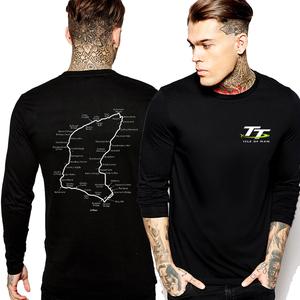 isle of man曼岛tt赛道logo摩托机车环岛大赛长袖t恤秋冬男黑个性