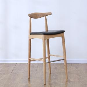 北欧实木牛角高脚吧台椅酒吧椅靠背咖啡厅个性创意实木PU布艺椅子
