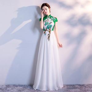 2019新款修身改良显瘦旗袍裙长款舞台走秀表演出服装大合唱团长裙