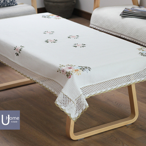 田園繡花白色茶幾桌布現代簡約長方形桌布布藝餐桌布全棉正方台布
