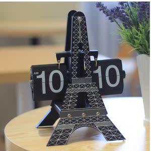 客厅钟表欧式铁塔翻页钟 迪拜塔新款 大座钟时尚创意 齿轮表翻牌
