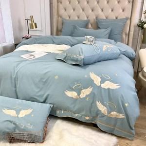 夏季長絨棉小清新磨毛純棉四件套100全棉床單被單簡約純色床笠1.8