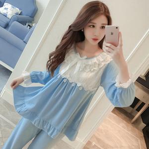春秋季长袖棉质蕾丝花边韩版清新睡衣女套装公主可爱学生夏家居服