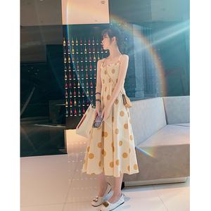 日系温柔雪纺吊带长款连衣裙2019新款夏季闺蜜装裙子仙女超仙森系