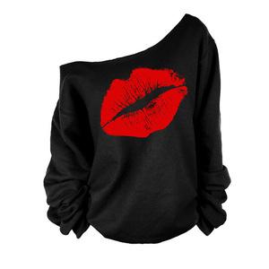 8948#速卖通ebay新款长袖秋装卫衣红唇大嘴唇?#21450;?#26012;肩性?#20449;?#35013;上