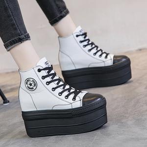 马丁靴女英伦风加绒厚底松糕内增高高帮鞋裸靴单里短靴潮春秋单靴