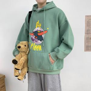保暖上衣男潮連帽秋冬季豆綠色衛衣chic休閑加絨加厚特別的情侶裝