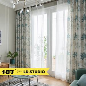 窗纱定制做 蓝山情调 北京上门测量安装棉麻质感美式乡村田园