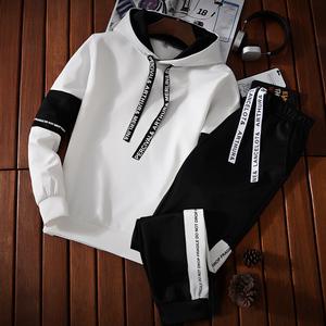 青少年卫衣男连帽薄款衣服春秋季休闲套装中学生韩版潮流运动外套