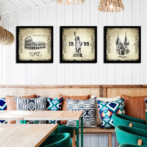 欧洲建筑装饰画复古怀旧客厅墙画工业风酒吧餐厅挂画创意个性壁画图片