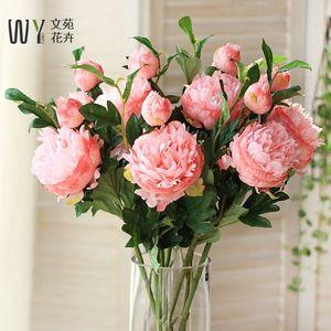 仿真花牡丹大朵花束絹花假花裝飾花擺件擺設單枝花插花客廳落地