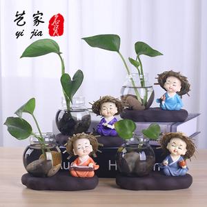 水培花盆花瓶玻璃绿萝水养植物容器创意瓷器桌面摆件陶瓷小和尚