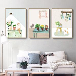 客廳裝飾畫現代簡約沙發背景牆畫陽台挂畫貓咪牆壁畫三聯無框畫