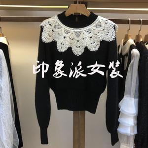 2019冬装新款女装钩花钉珠翻领披肩甜美毛针织上衣毛衣L1603302潮