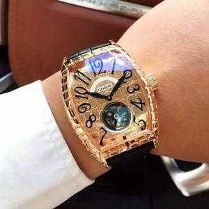 FM手表法兰克长方形真牛皮男士酒桶型男表全自动机械陀飞轮大表盘