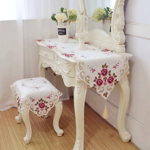 欧式梳妆台桌布防尘盖巾布艺卧室化妆台桌垫鞋柜布美甲桌绣花桌旗