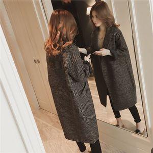 香港秋冬季毛呢外套女中長款韓版2019新款寬松流行格子呢子大衣女
