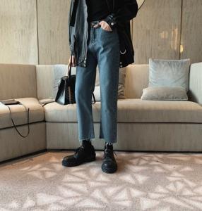 阿茶与阿古蓝色破边牛仔裤男宽松潮流韩版直筒休闲裤子