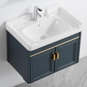 洗臉盆臺面一體衛生間洗漱臺小戶型浴室柜面盆掛墻式洗手盆柜組合