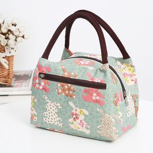 布包女帆布手提小包包牛津布防水便當包多拉鏈女包新款媽媽買菜包